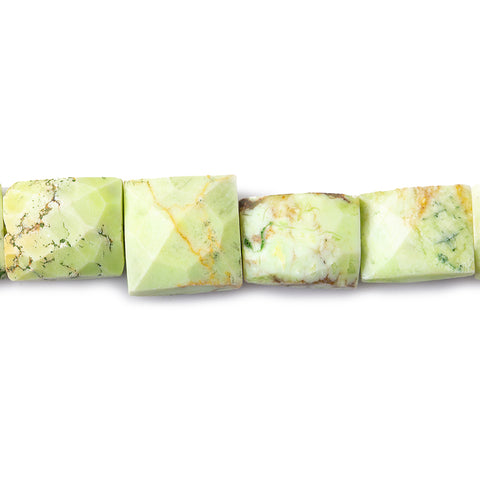 9mm Chrysoprase And Matrix Faceted Rectangle Beads, 15 inch