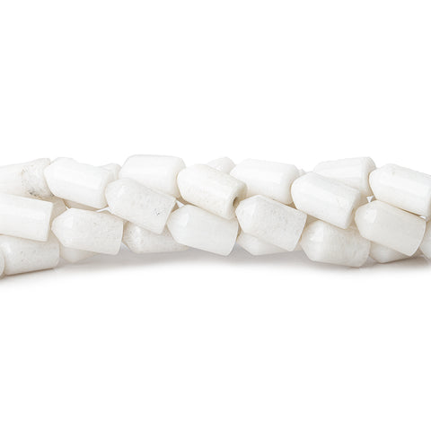 12mm White Howlite Plain Bullet Beads, 16 inch