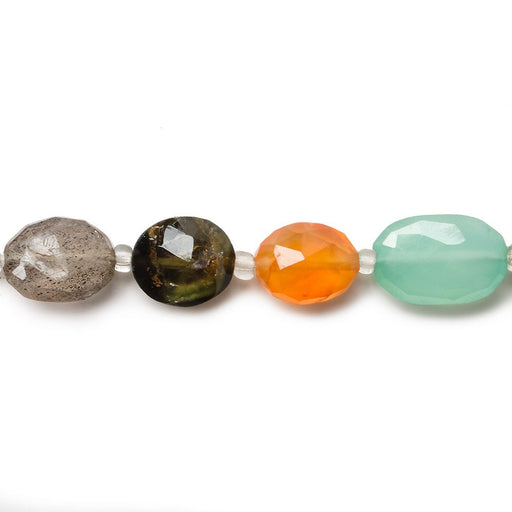 9-11mm Multi-Gemstone Faceted Oval Beads, 14 inch