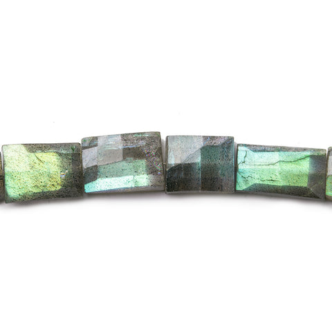 8x7-17x7mm Labradorite straight drilled barrel faceted rectangles 8 inch 16 beads