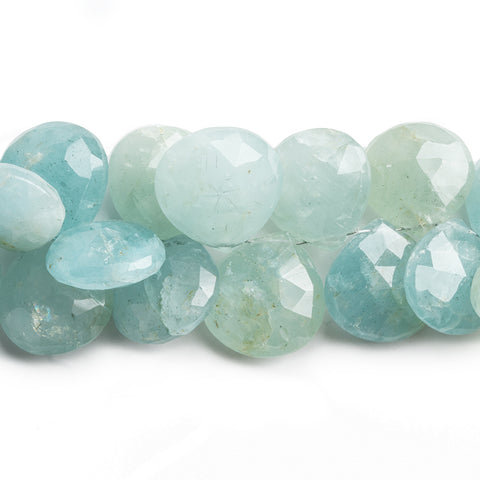 Aquamarine Faceted Heart Beads 8 inch 36 pieces