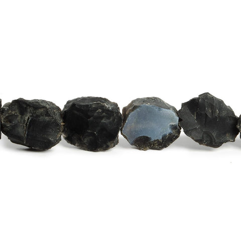 14x12-17x15mm Black Agate Hammer Faceted Rectangle Beads 8 inch 13 piece