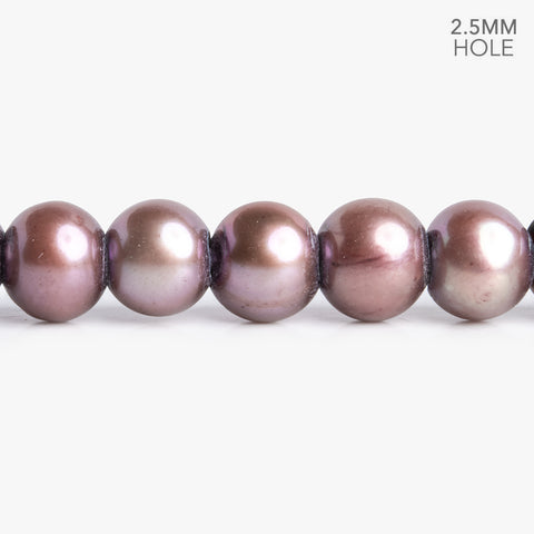 7mm-8mm Plum Large Hole Off Round Freshwater Pearls 16 inch 65 pieces