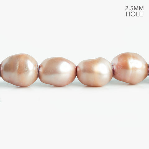 10.5x9mm-12x10mm Pink Champagne Large Hole Baroque Freshwater Pearls 16 inch 38 pieces