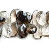 Smoky Quartz Faceted Pear Beads 8.5 inch 42 pieces