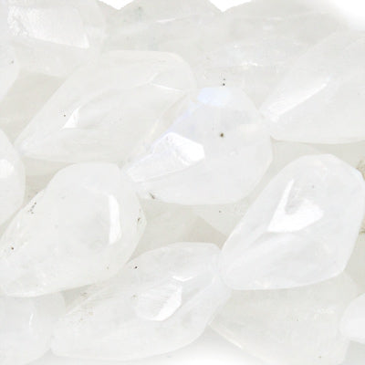 Premium quality 7mm Rainbow Moonstone Faceted Straight Drilled Teardrop Beads, 14 inch - Buy From The Bead Traders Online Store