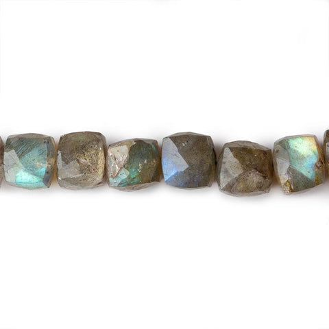Luxurious 5x5-7x7mm Olive Green Labradorite faceted cube beads 8 inches 29 pieces - Buy From The Bead Traders Online Store.