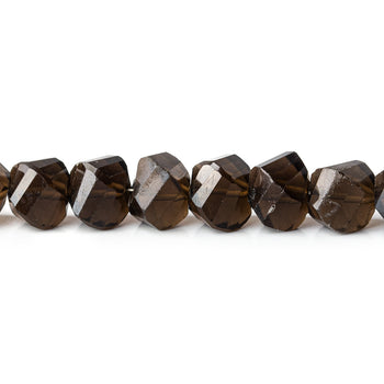 Smoky quartz faceted heart beads Natural gemstone teardrop beads Four pieces