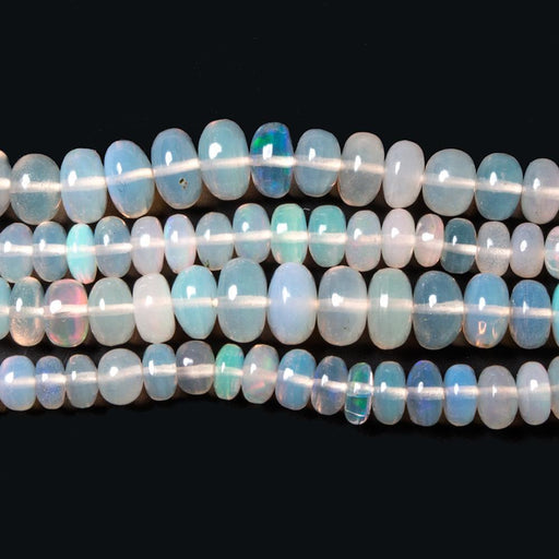 3 - 5mm Off White Ethiopian Opal Plain Rondelle Beads 15 inch 144 pieces AA Grade