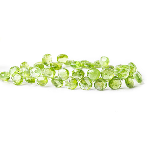 8x7mm-9x8mm Peridot Faceted Heart Beads 8 inch 45 pieces
