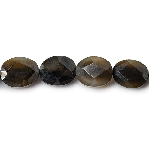 10mm Black Agate Faceted Oval Beads, 16 inch strand