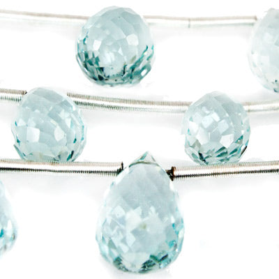 Light Blue Glass Beads Faceted Top Drilled 8-12mm Teardrops