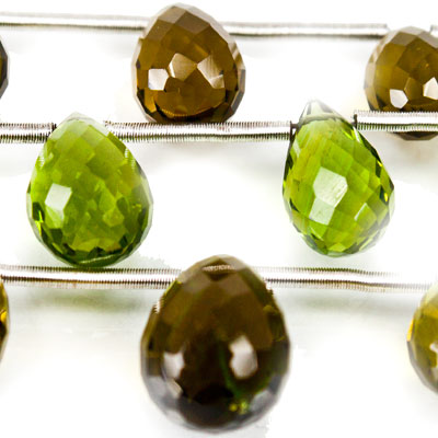 Olive Green Glass Beads Faceted Top Drilled 7-10mm Teardrops