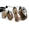 Smoky Quartz Faceted Teardrop Beads 5 inch 7 pieces
