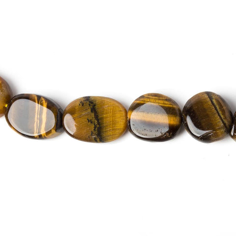15mm Tiger Eye Plain Oval Beads, 14 inch
