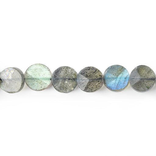 7mm Labradorite Faceted Coin Beads, 14 inch
