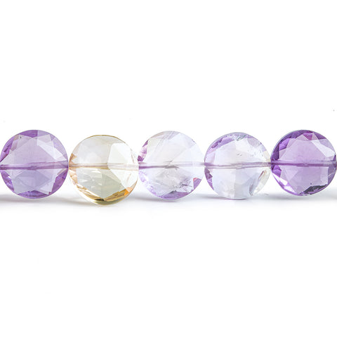 Ametrine Faceted Coin Beads 16 inch 39 pieces