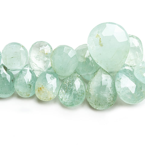 8mm-15mm Aquamarine Faceted Pear Beads 8 inch 57 pieces