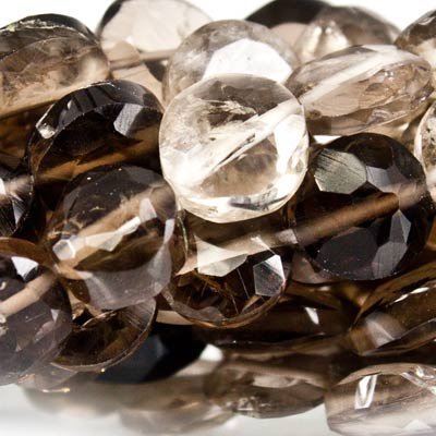 Shaded Smoky Quartz Faceted Straight Drilled 4-5mm Coins