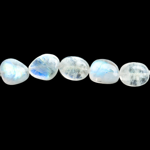 12mm Rainbow Moonstone Plain Nugget Beads 18 inch 43 pieces