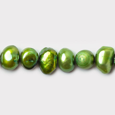 Apple Green Side Drilled Baroque Freshwater Pearls 16 inch 74 beads 7x5-5x5mm