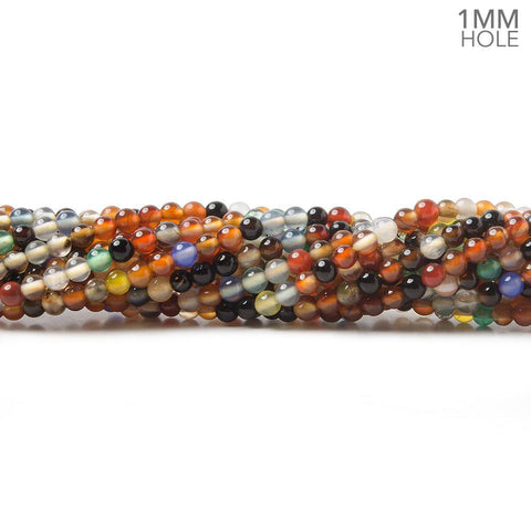 2mm Fiesta Multi-Gemstone Plain Round Beads, 15 inch