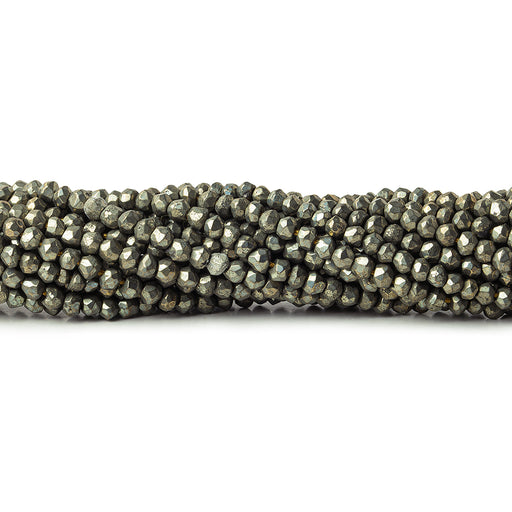 Pyrite Faceted Rondelle Beads, 12.5 inch, 3mm diameter, 129 pieces