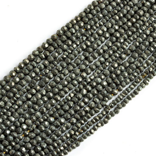 Pyrite Faceted Rondelle Beads, 14 inch, 3-3.5mm diameter, 140 pieces