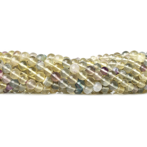 "Multi-Color Fluorite Beads Plain 5mm Rounds, 14"" length, 65 pcs"