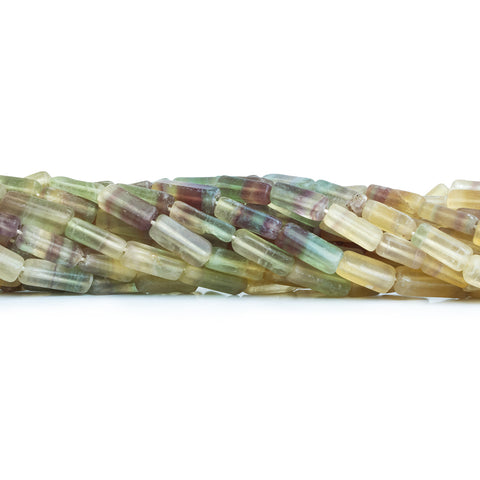 "Multi-Color Fluorite Beads Plain 3x8-4x10mm Rectangles, 14"" length, 43 pcs"
