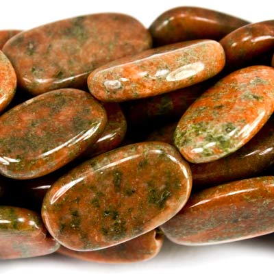 "Unakite Beads Plain 11x8-16x9mm Ovals, 14"" length, 24 pcs"