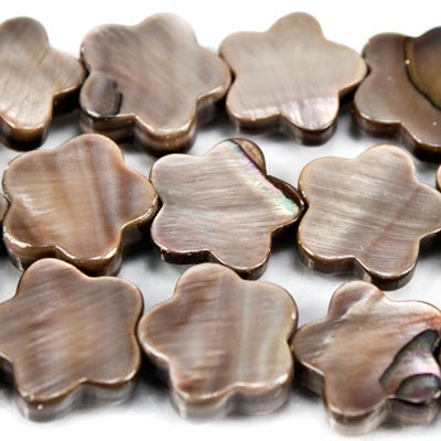 "10x10mm Beige Mother of Pearl Plain Flower Beads 15"", 41pcs"