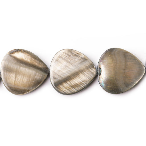 "Silvery Brown Mother of Pearl Bead Straight Drilled 11-12mm Plain Heart, 16"", 24pcs"