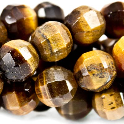 "Tiger Eye Beads Faceted 8mm Round, 14"" length, 52 pieces"