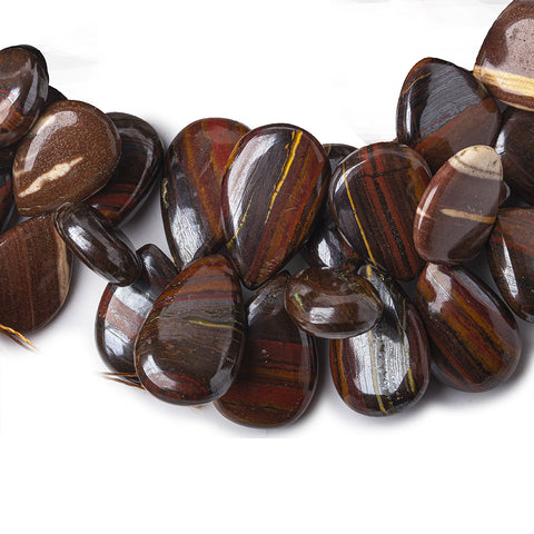 Jasper and Iron Ore Plain Hearts and Pears Beads 7inch 43 pieces