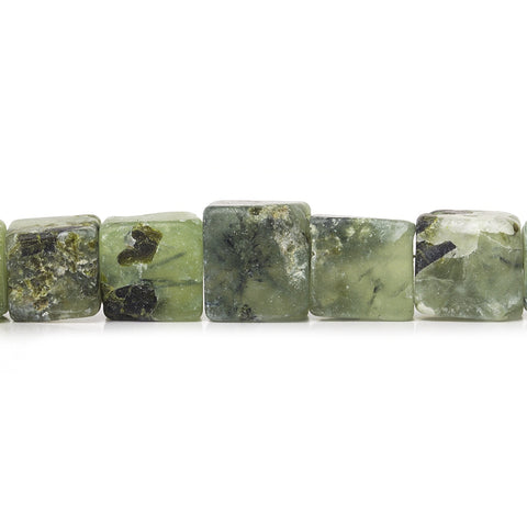9x9-13x13mm Frosted Prehnite Hammer Faceted Cube Beads 8 inch 18 pieces