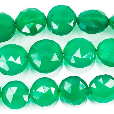 "Green Quartz Straight Drilled Faceted Coin Beads, 8"" length, 8-12mm diameter, 19 pcs"