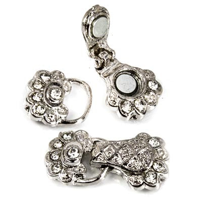 Rhodium plated Magnetic Clasp, Art Deco Floral and Rhinestones 30x14mm, 1 piece