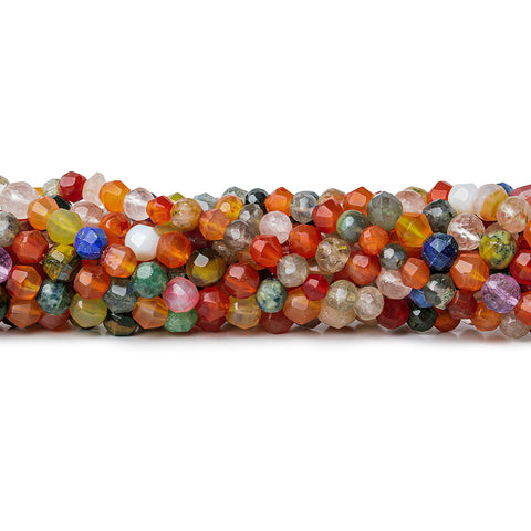 "Multi Gemstone Faceted Round Beads, 15"" length, 4-6mm diameter, 73 pcs"