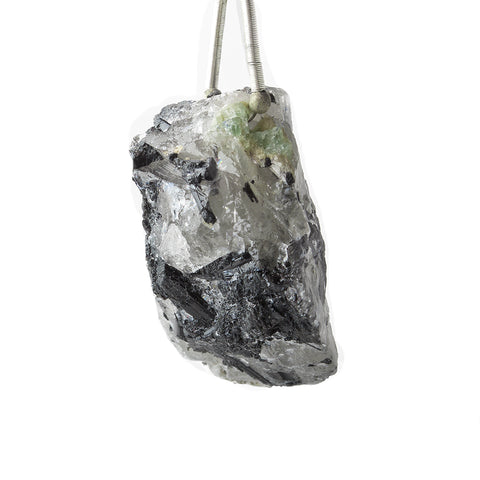 23x27mm Emerald, Black Tourmaline, and Crystal Quartz Natural Crystal Cluster Pendant 1 piece
