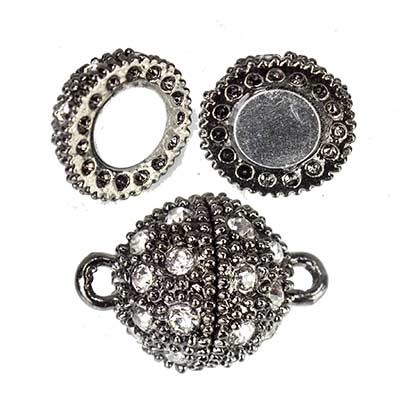 14mm Black-tone Ball Magnetic Clasp with White Rhinestones