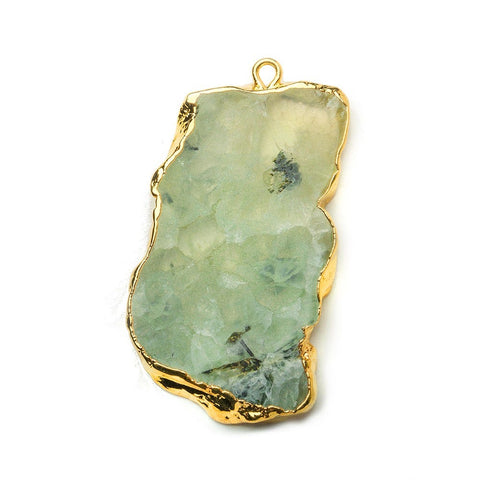 31x22mm-47x23mm Gold Leafed Prehnite Natural Slice Focal Bead 1 Piece