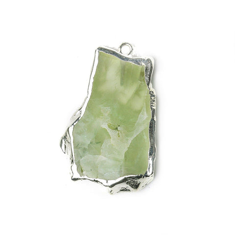 30x22mm-37x28mm Silver Leafed Prehnite Natural Slice Focal Bead 1 Piece