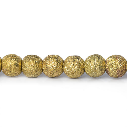 "Brass Round 6mm Stardust Bead, 8"" length, 35 pcs"
