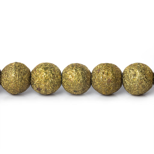 "Brass Round 8mm Stardust Bead, 8"" length, 27 pcs"
