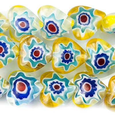 "Multi Color Yellow Millefiori Straight Drilled Plain Heart Beads, 16"" length, 7x7x3mm average, 52 pcs"