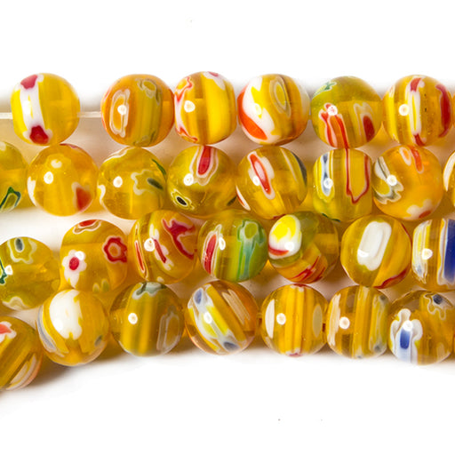 7.5mm Millefiori Yellow Lab Created plain round beads 15 inch 50 pieces