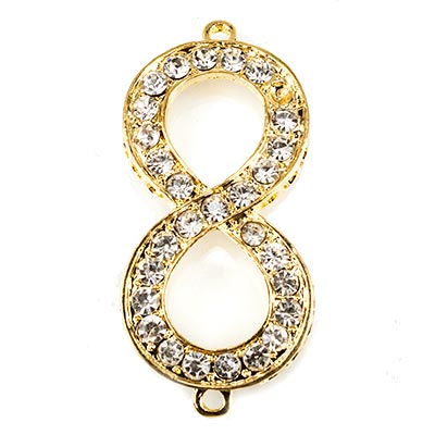 Gold-tone Infinity Symbol Rhinestone Connector Finding, 53x25mm, 1 piece