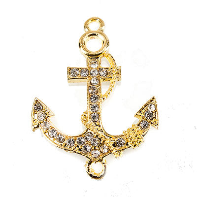 Gold-tone Anchor Rhinestone Connector Pendant Finding, 37x28mm, 1 piece