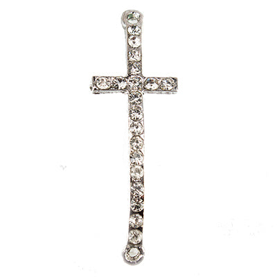 Platinum-tone Cross Rhinestone East-West Connector Finding, 43x14mm, 2 piece